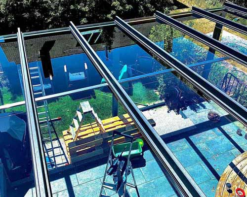 Gartendach aus Glas